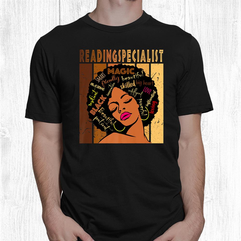 Black Reading Specialist Afro African American Woman Shirt