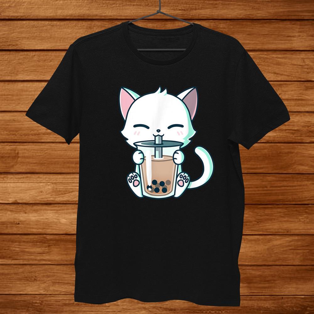 Boba Cat Drinking Boba Kitten Kawaii Japanese Kitty T Shirt