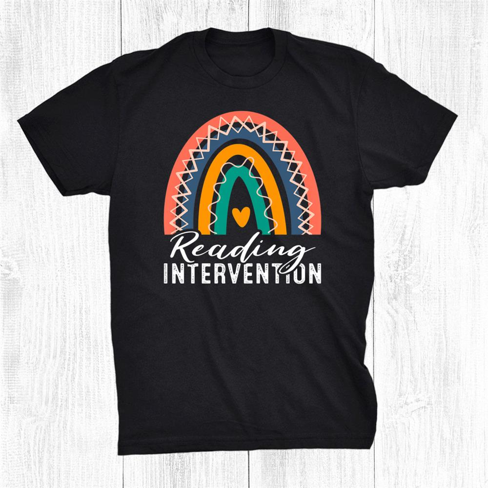 Boho Rainbow Reading Intervention Teacher Back To School Shirt