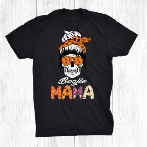 Boojie Mama Halloween Monster Messy Bun Skull Mom Shirt