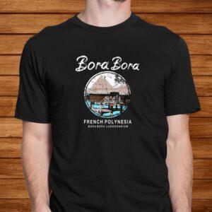 bora bora bungalow french polynesia vintage t shirt Men 2