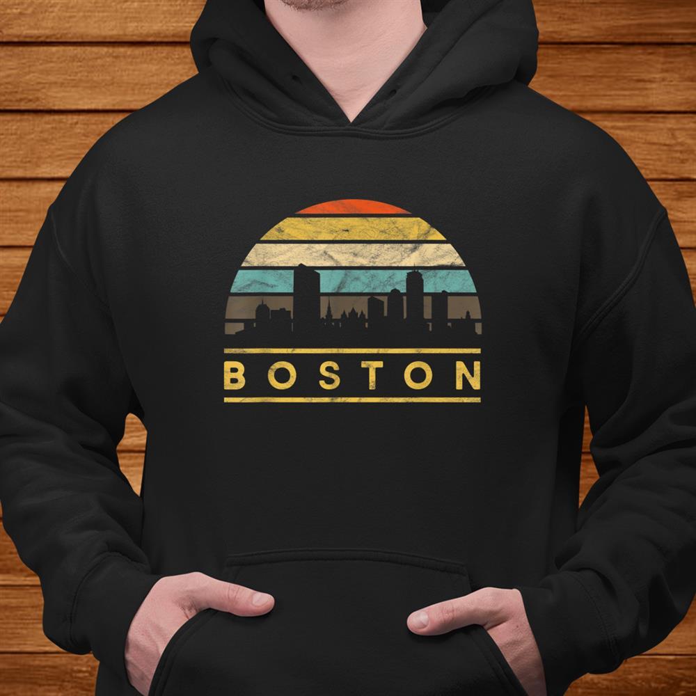 Boston Skyline Retro Vintage Sunset Travel Souvenir Shirt
