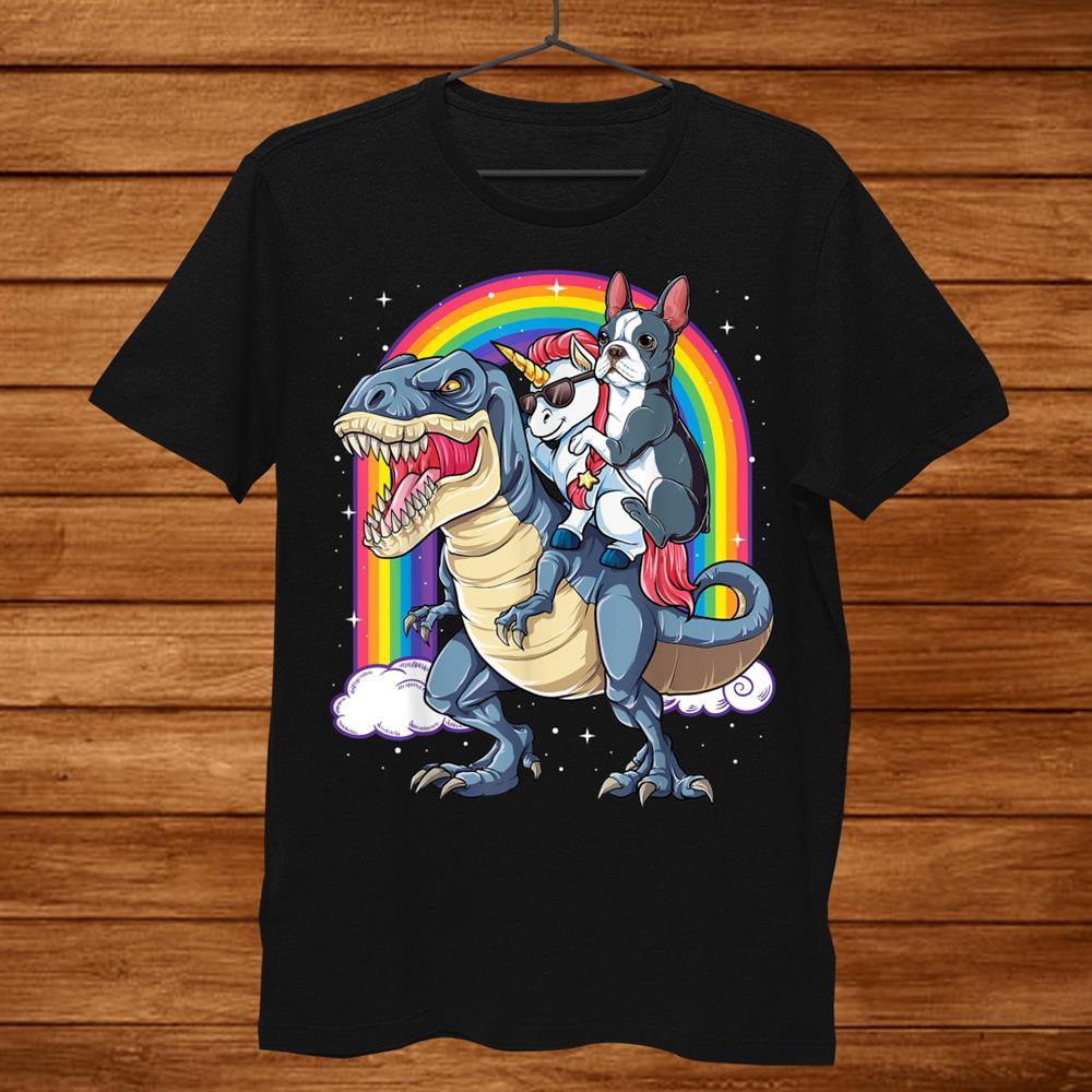 Boston Terrier Unicorn Riding Dinosaur T Rex Girls Rainbow Shirt