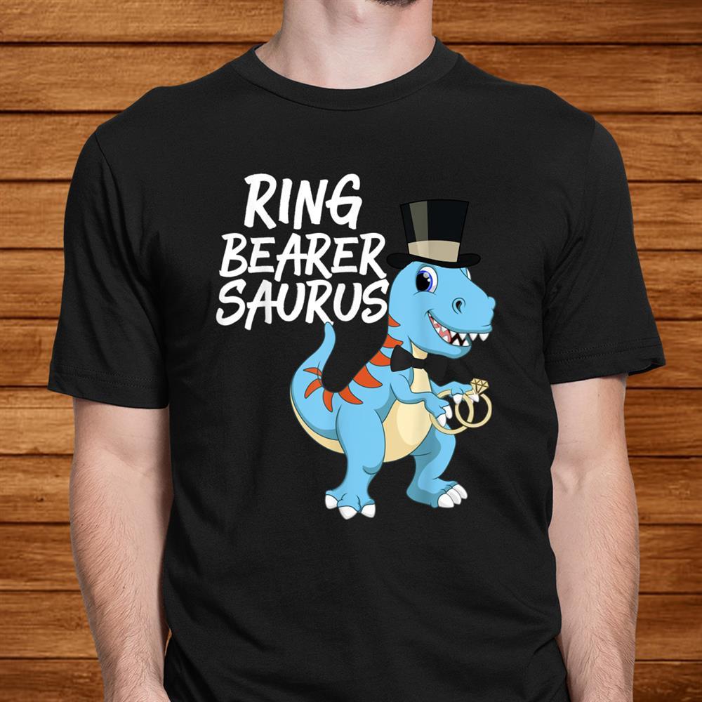 Boys Ring Bearer Dinosaur Rex Wedding Party Shirt