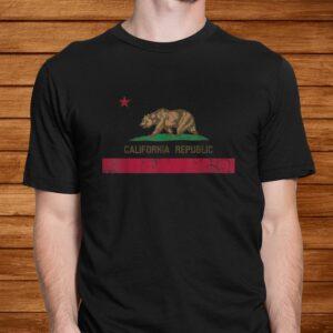 california republic flag state vintage fade t shirt Men 2