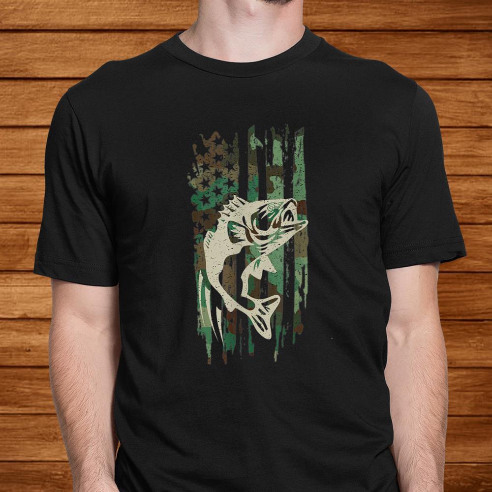 Camouflage American Flag Bass Fishing Shirt