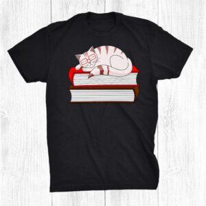 Cat Book Librarian Pet Kitten Owner Nerd Reading Glasses Shirt