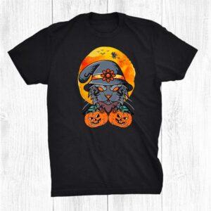 Cat Moon Pumpkin Witch Funny Halloween Shirt