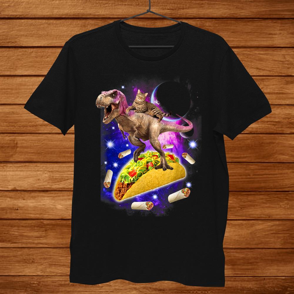 Cat Riding T Rex Dinosaur And Taco Burrito Mexican Food Shirt