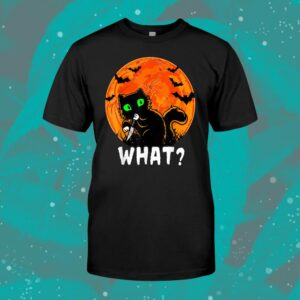 Cat What Cat With Knife Halloween Costume Shirt
