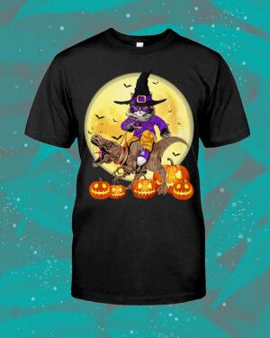 Cat Witch Riding Dinosaurs Halloween Shirt