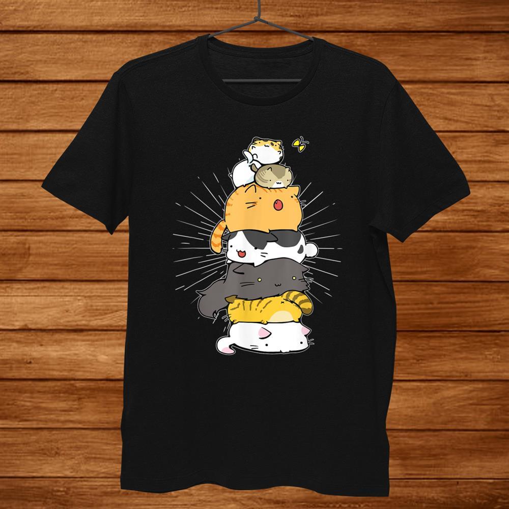 Cats Meowtain Pile Cat Anime Kawaii Kitten Lover Funny Shirt