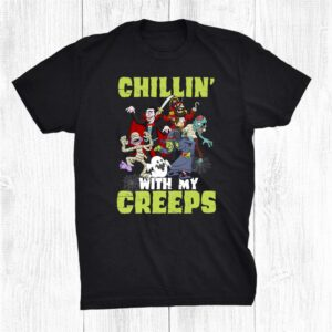 Chillin With My Creeps Halloween Skeleton Boo Witch Pirate Shirt