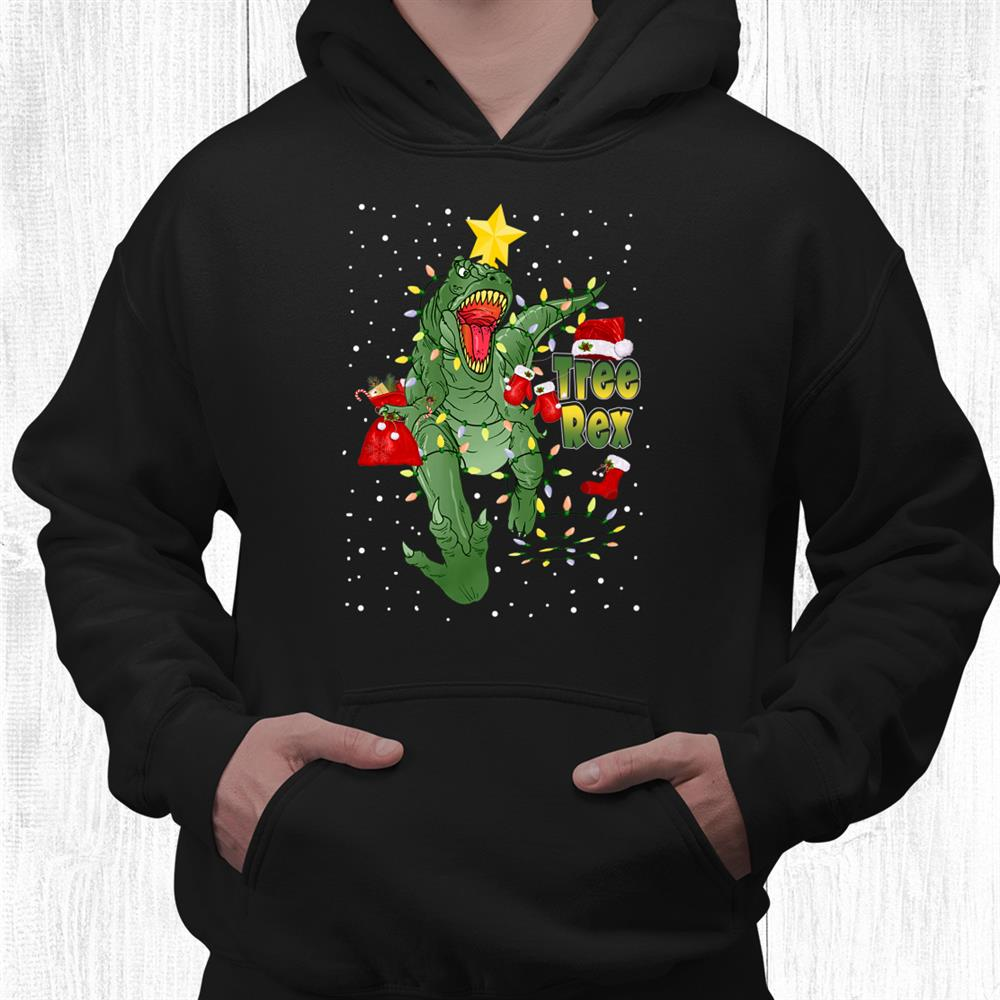 Christmas Dinosaur Tree Rex Lights Pajamas Xmas Shirt