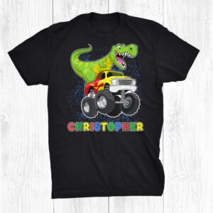 Christopher Personalized Dinosaur On A Monster Truck Kids Shirt