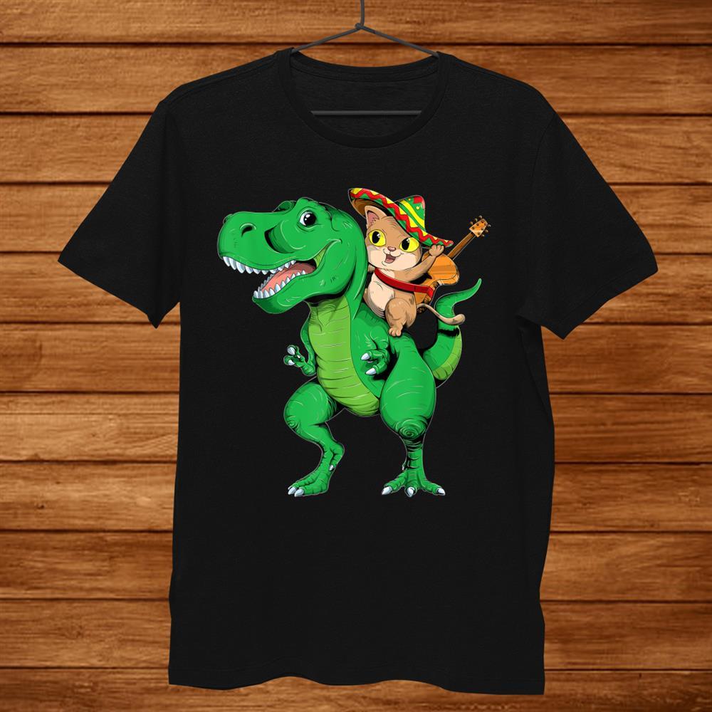 Cinco De Mayo Funny T Rex Dinosaur And Cat Kids Shirt