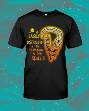 Climbing Skull Distracted Halloween Shirt