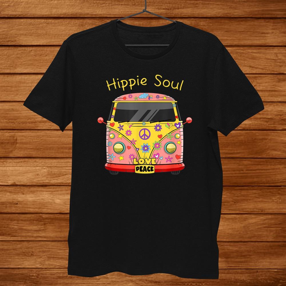 Colorful Hippie Soul Shirt Retro Van Life Love Peace Shirt