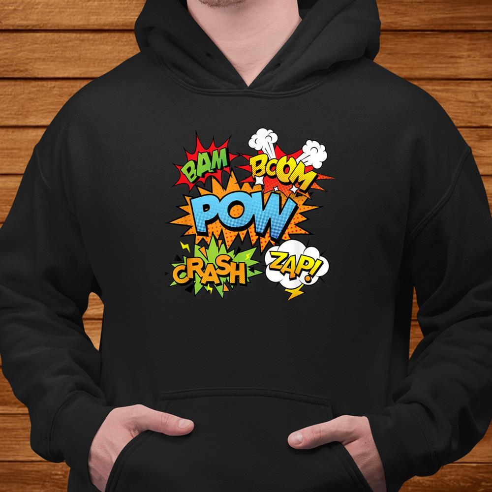 Comic Book Bam Pow Crash Boom Zap Bubbles In Bright Colors Shirt