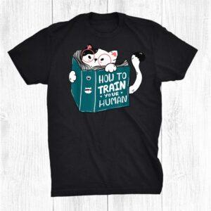 Cute Cat Reading A Human Training Book Funny Cat Shirt