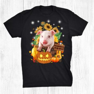 Cute Pig With Pumpkins And Sunflower Funny Shirt