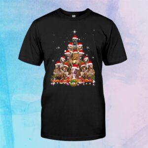 Cute Pitbull Christmas Tree Dog Santa Xmas Tee Funny Pajamas Shirt