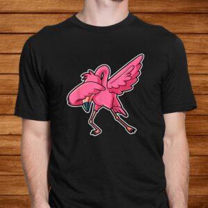 dabbing flamingo dab funny gift idea for men women kids cute t shirt Men 2