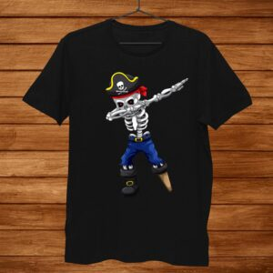 Dabbing Skeleton Pirate Jolly Roger Halloween Pirate Night Shirt