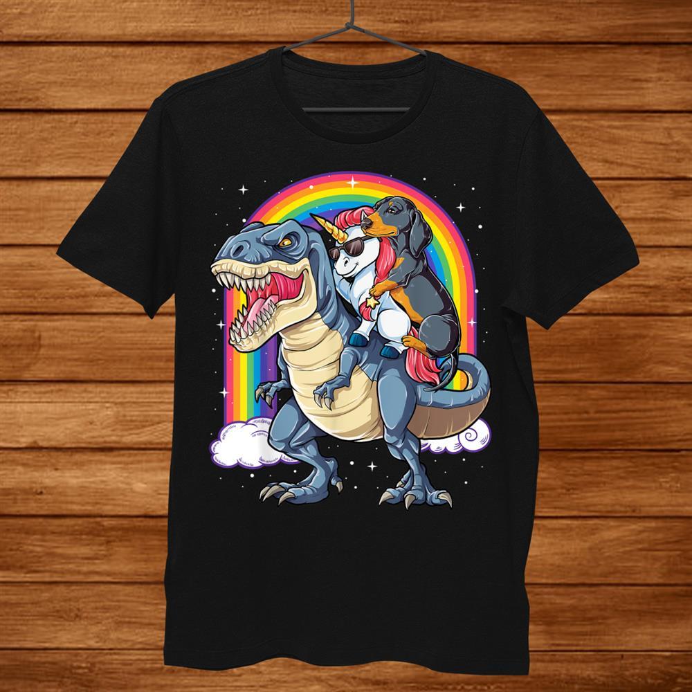 Dachshund Unicorn Dinosaur T Rex Shirt Kids Girls Rainbow Men