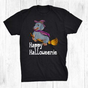 Dachshund Wicked Witch Flying Happy Halloweenie Funny Shirt