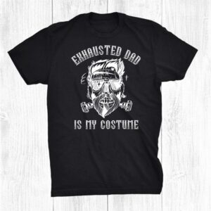 Dad Halloween Costume Exhausted Dad Skull Beard Funny Shirt