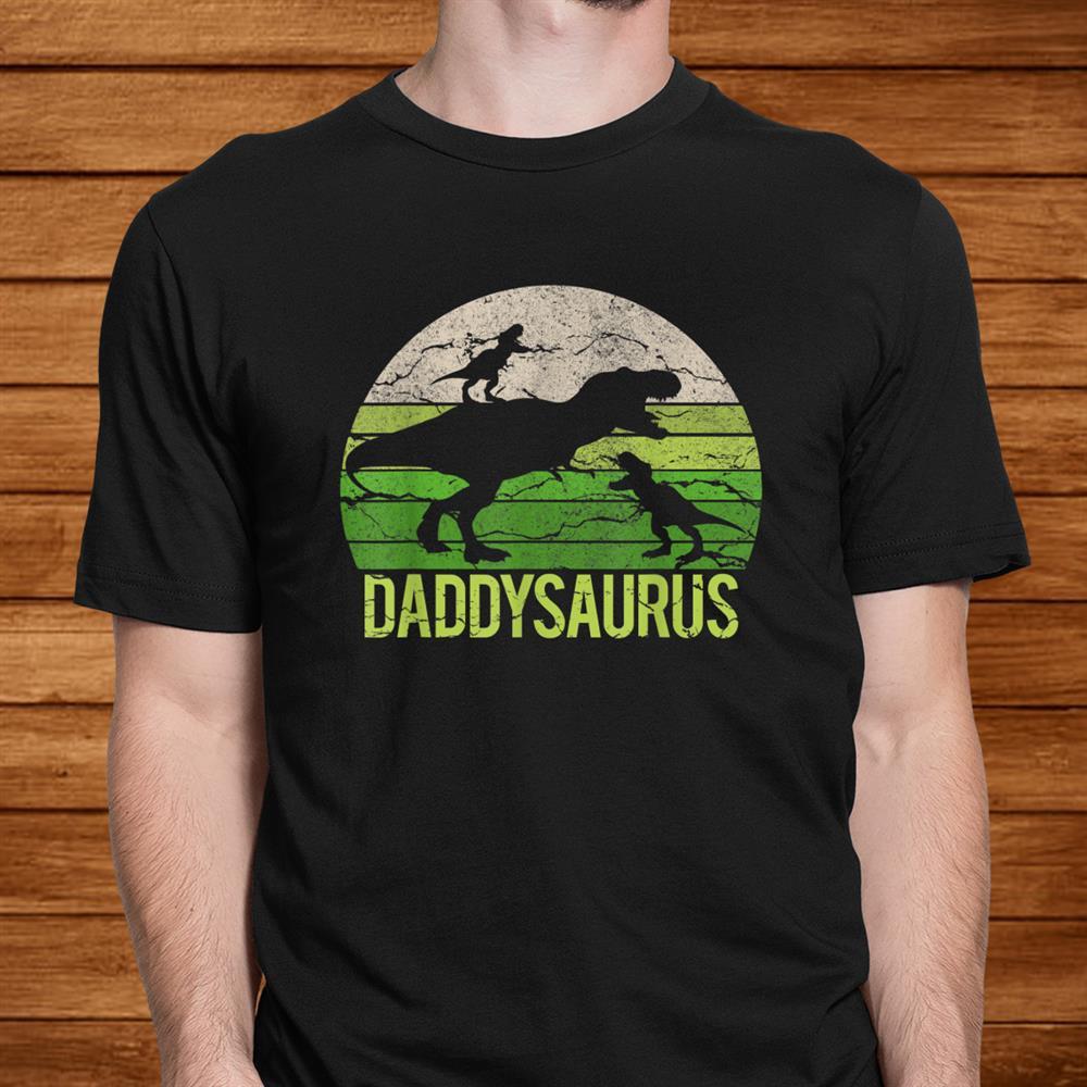 Daddy Dinosaur Daddysaurus Two Kids Christmas Gift Father Shirt