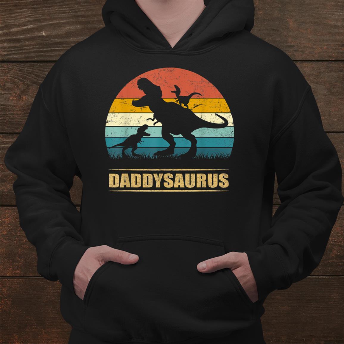 Daddy Dinosaur Daddysaurus Two Kids Funny Dad Shirt