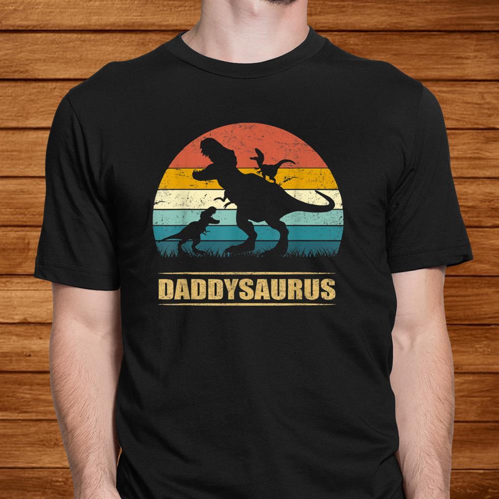 Daddy Dinosaur Daddysaurus Two Kids Gift Tee For Dad Shirt