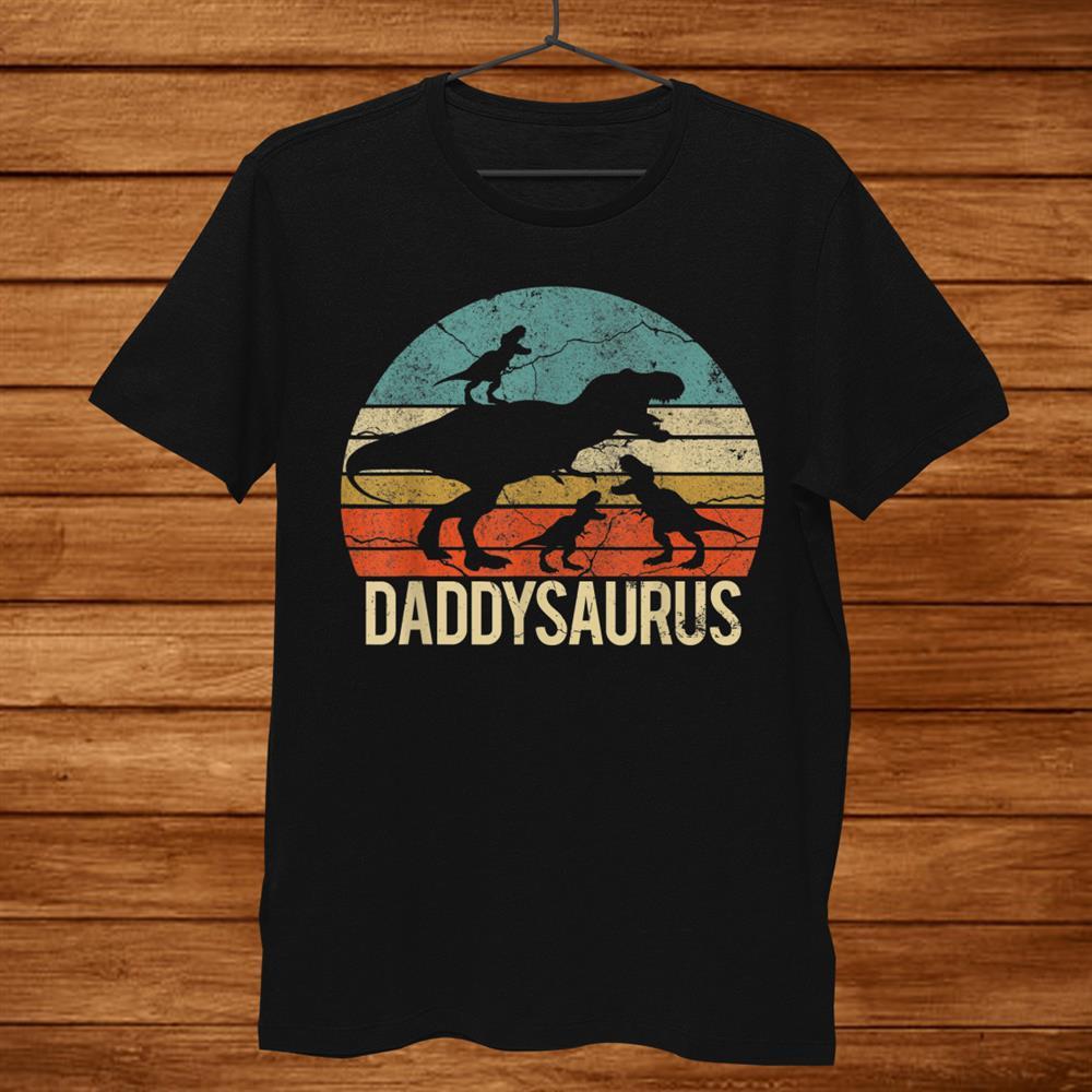 Daddy Dinosaur Daddysaurus Three Kids Xmas Christmas Shirt