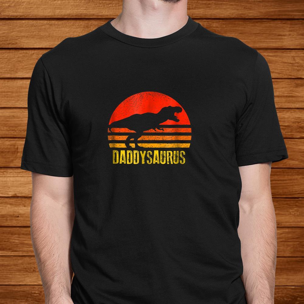 Daddysaurus Shirt Retro Vintage Sunset Dinosaur Shirt
