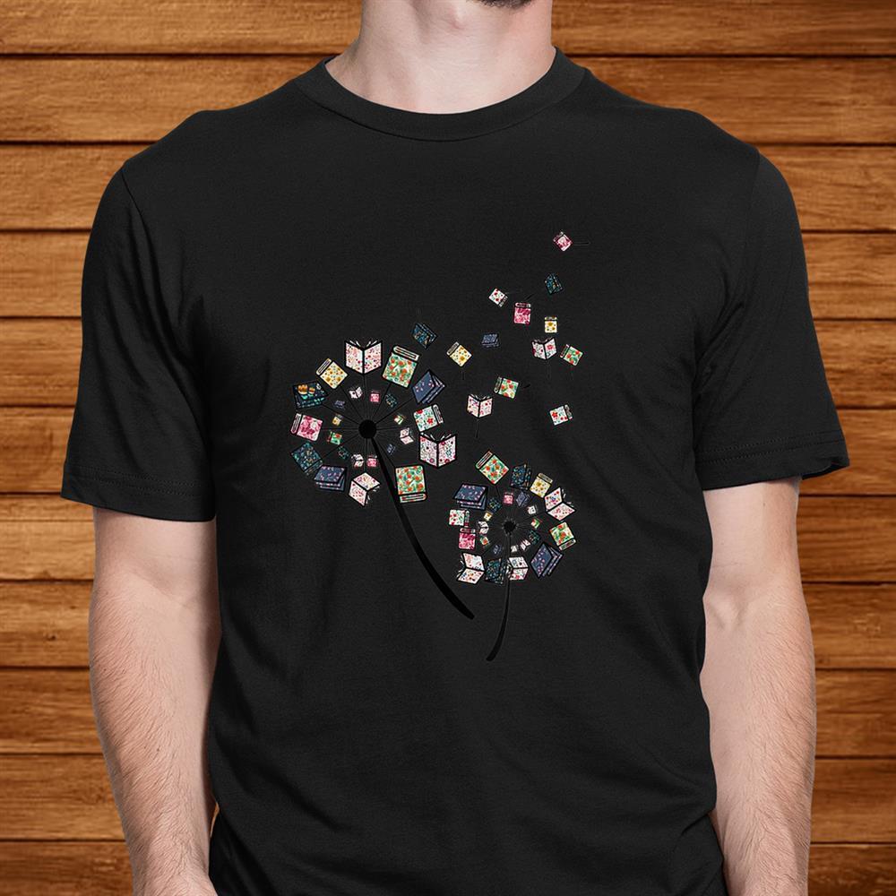Dandelion Books Flower Fly Reading Fan Shirt