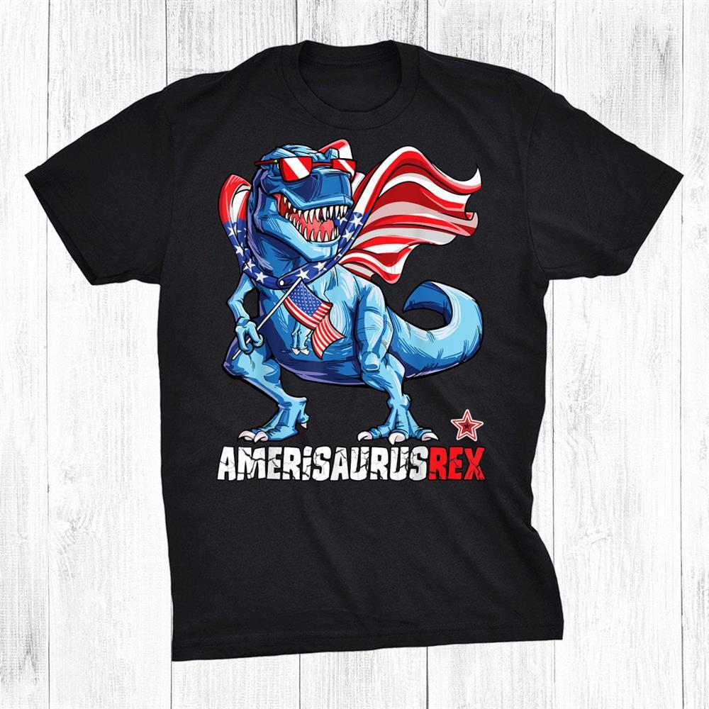 Dinosaurth Of July Kids Boys Men Amerisaurus Rex Shirt