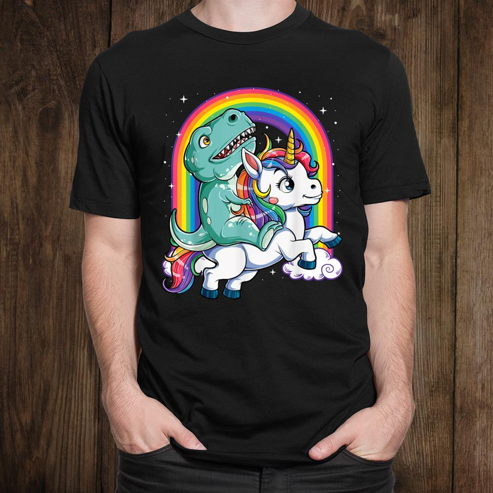 Dinosaur Riding Unicorn Rainbow T Rext Shirt