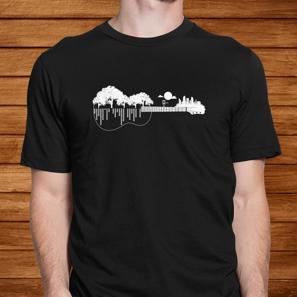 Disc Golf Flying Disc Disc Golf Sunset Guitar Shirt