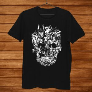 Doberman Dog Skull Tshirt Best Halloween Costume Shirt