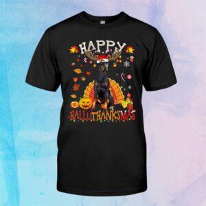 Doberman Happy Hallothanksmas Halloween Thanksgiving Xmas Shirt