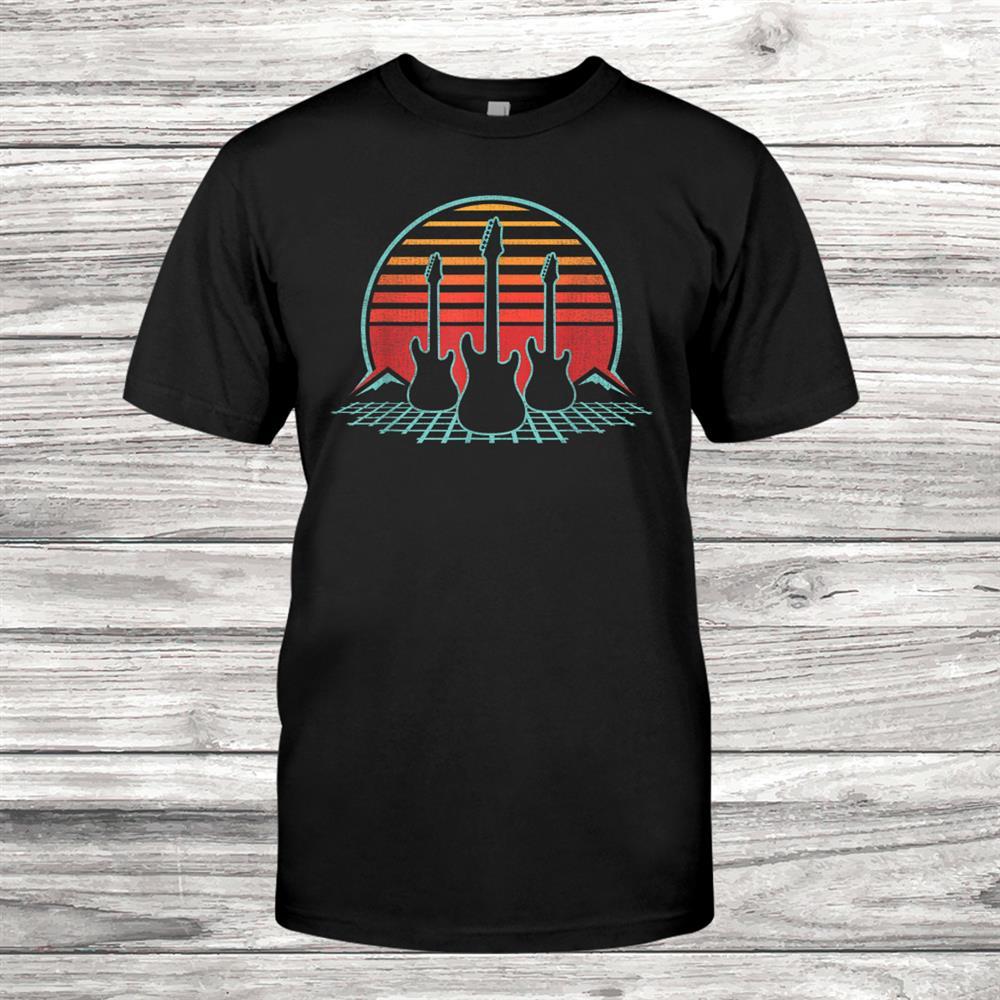 Electric Guitar Retro Vintage0s Player Musician Shirt
