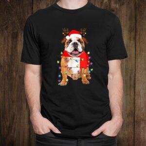 English Bulldog Christmas Tree Lights Santa Dog Christmas Shirt