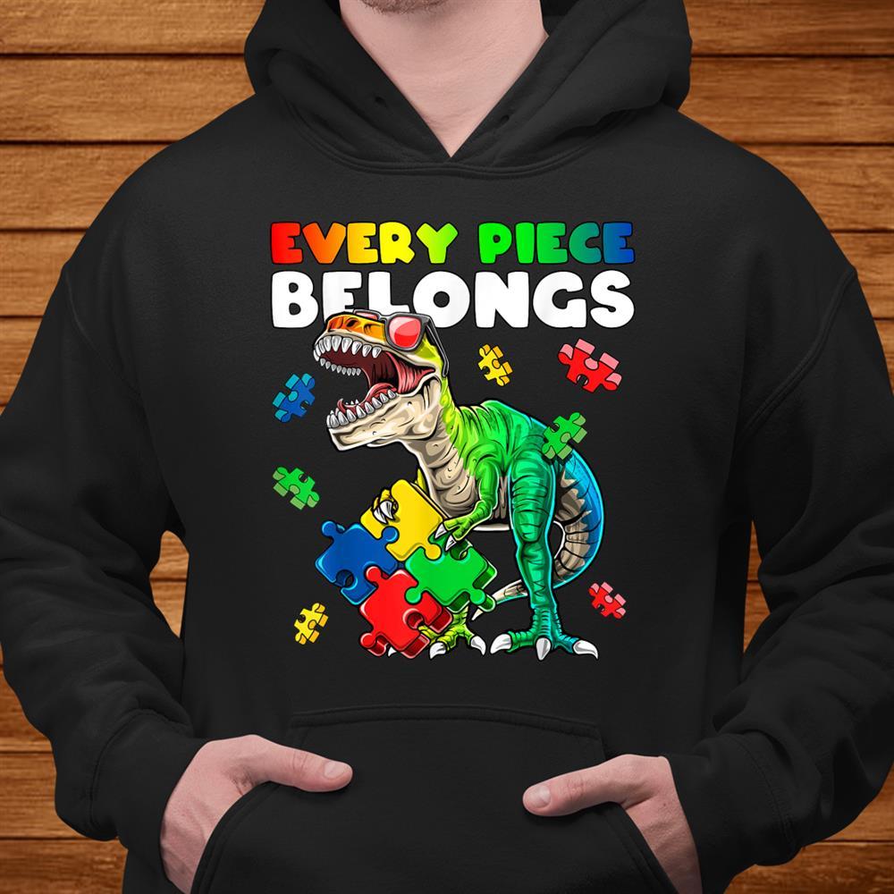 Every Piece Belongs Dinosaur Autism Awareness Puzzle Shirt