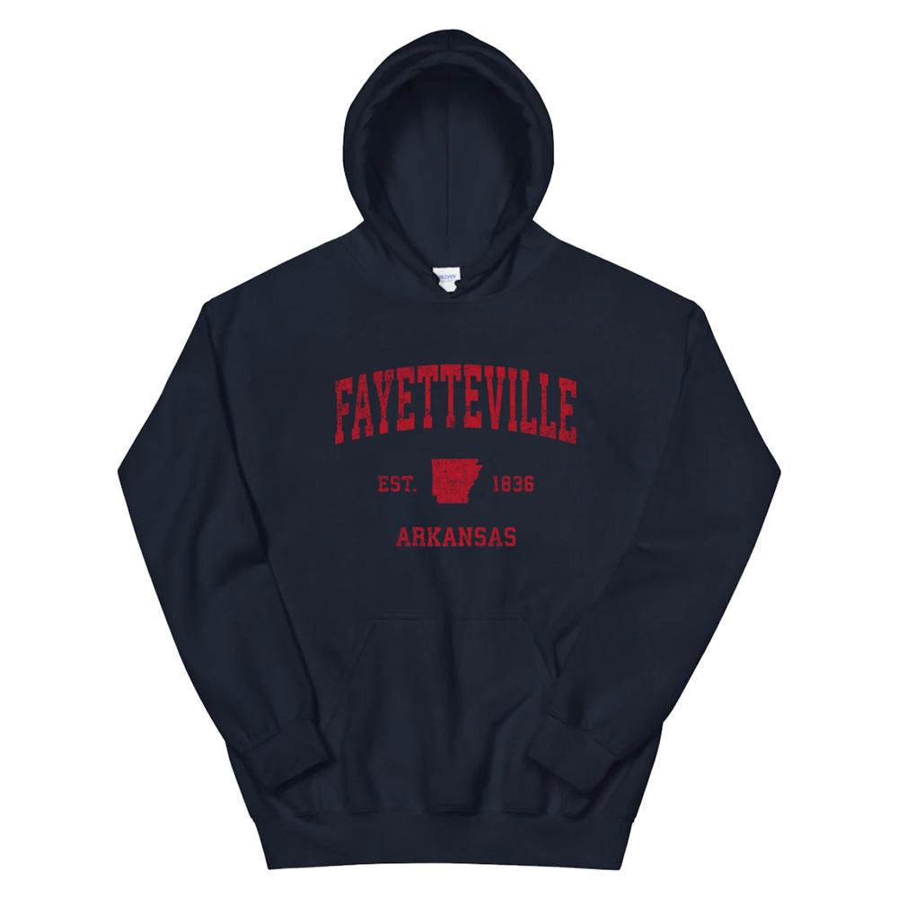 Fayetteville Arkansas Ar Vintage Sports Design Red Print Hoodie