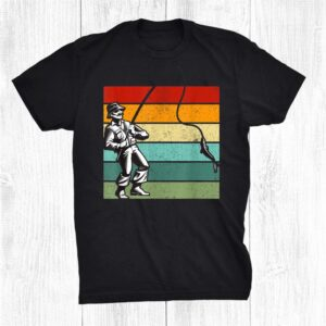 Fisherman Rod Reel Retro Sunset Stripes Shirt