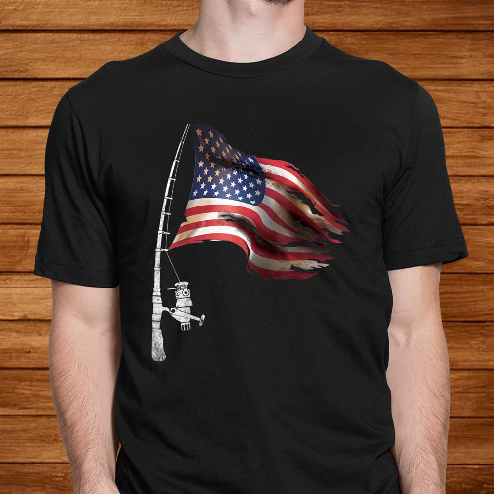 Fishing American Flag Fisherman Patriotic Dayth Of July Shirt