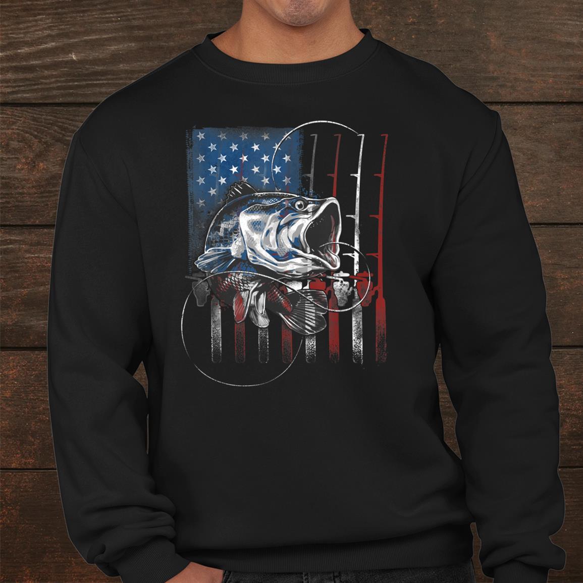 Fishing American Flag Vintage Shirt Usa Bass Fisherman Shirt