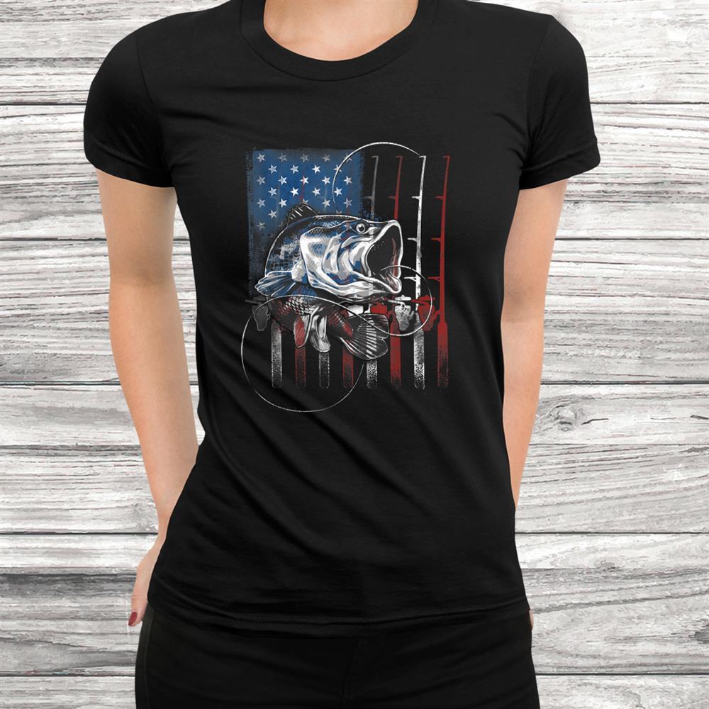 Fishing American Flag Vintage Tshirt Usa Bass Fisherman Shirt